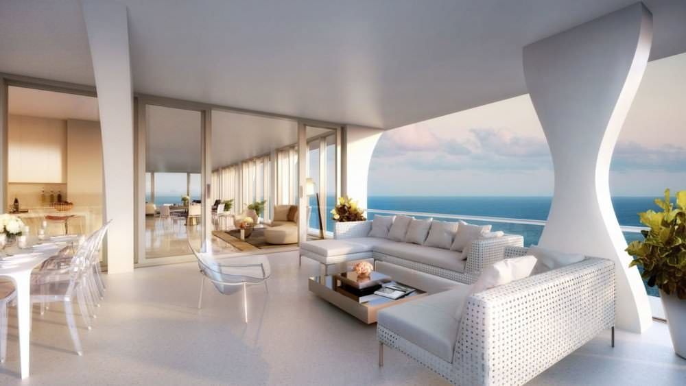 Apartments in luxury building under construction in Miami